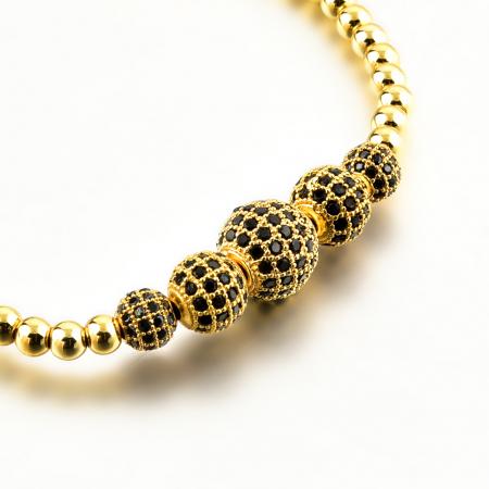 Bratara Melena Gold din pietre semipretioase si margele din otel inoxidabil placate cu aur DRGB0141 DarGen8