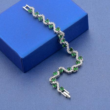 Bratara Melia Green din otel inoxidabil si diamante CZ DRGB0087 DarGen5