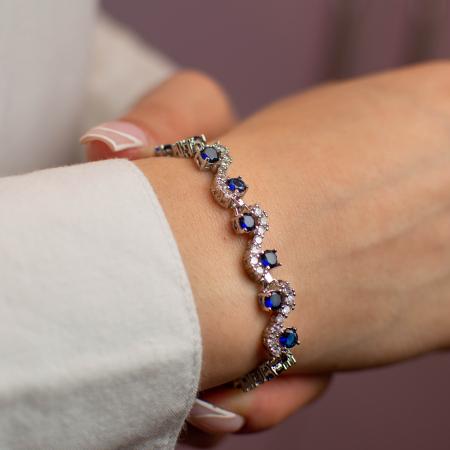 Bratara Melia Blue din otel inoxidabil si diamante CZ DRGB0086 DarGen [3]