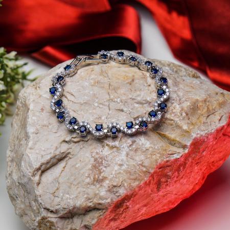 Bratara Melia Blue din otel inoxidabil si diamante CZ DRGB0086 DarGen5