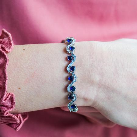 Bratara Melia Blue din otel inoxidabil si diamante CZ DRGB0086 DarGen1