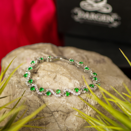 Bratara Melia Green din otel inoxidabil si diamante CZ DRGB0087 DarGen6