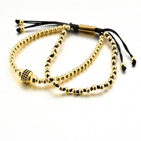 Bratara Minos Gold din margele din otel inoxidabil placate cu aur DRGB0120 DarGen8