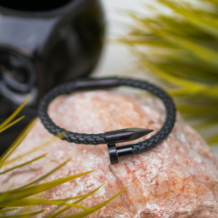 Bratara New Jersey  Black din otel inoxidabil si piele ecologica DRGB0055 DarGen [6]