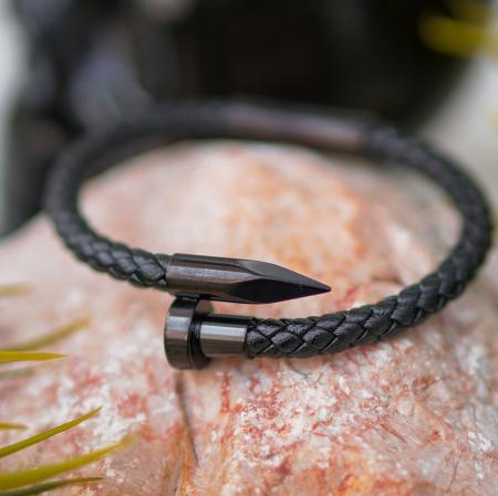Bratara New Jersey  Black din otel inoxidabil si piele ecologica DRGB0055 DarGen [5]