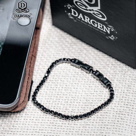 Bratara Tennis Alpine Black din otel inoxidabil si diamante CZ DRGB0034 DarGen2