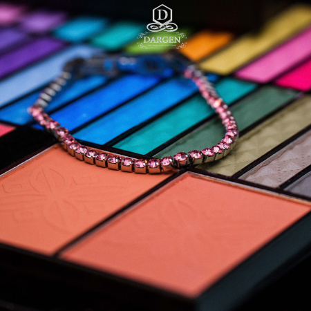 Bratara Tennis Alpine Pink din otel inoxidabil si diamante CZ DRGB0078 DarGen3