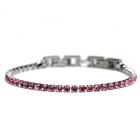 Bratara Tennis Alpine Pink din otel inoxidabil si diamante CZ DRGB0078 DarGen0