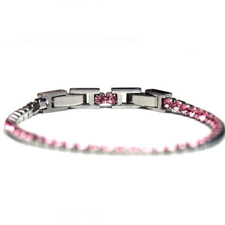 Bratara Tennis Alpine Pink din otel inoxidabil si diamante CZ DRGB0078 DarGen5