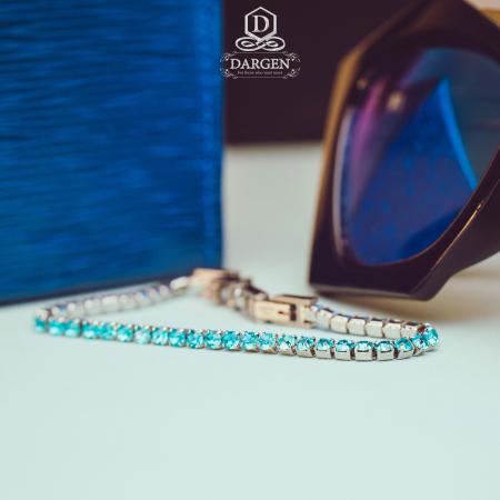 Bratara Tennis Alpine Turquoise din otel inoxidabil si diamante CZ DRGB0079 DarGen8