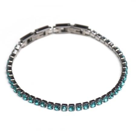 Bratara Tennis Alpine Turquoise din otel inoxidabil si diamante CZ DRGB0079 DarGen