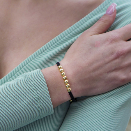 Bratara Tessany Gold din snur si margele din otel inoxidabil placate cu aur DRGB0097 DarGen [1]