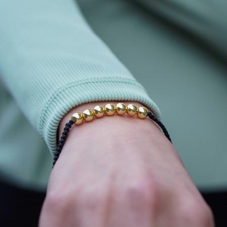 Bratara Tessany Gold din snur si margele din otel inoxidabil placate cu aur DRGB0097 DarGen [3]