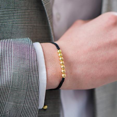 Bratara Tessany Gold din snur si margele din otel inoxidabil placate cu aur DRGB0097 DarGen [2]