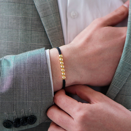 Bratara Tessany Gold din snur si margele din otel inoxidabil placate cu aur DRGB0097 DarGen [4]