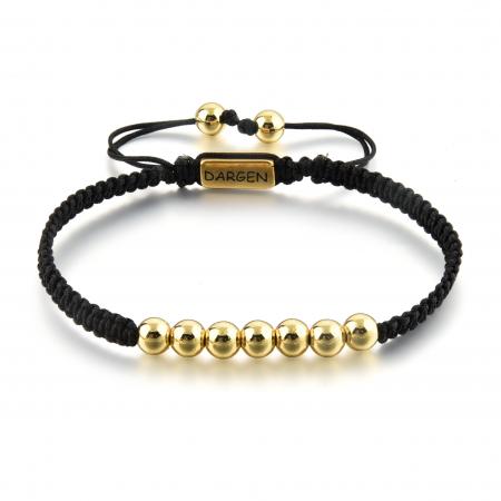 Bratara Tessany Gold din snur si margele din otel inoxidabil placate cu aur DRGB0097 DarGen0