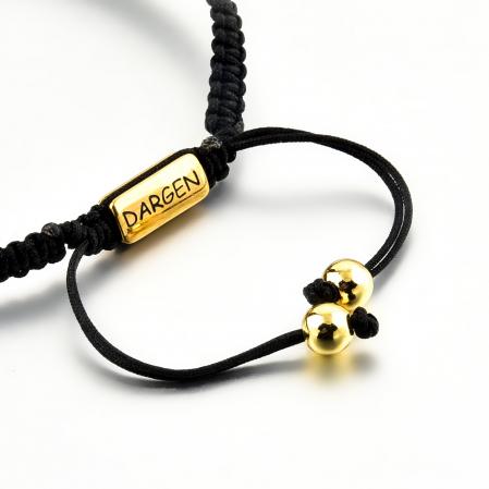 Bratara Tessany Gold din snur si margele din otel inoxidabil placate cu aur DRGB0097 DarGen2