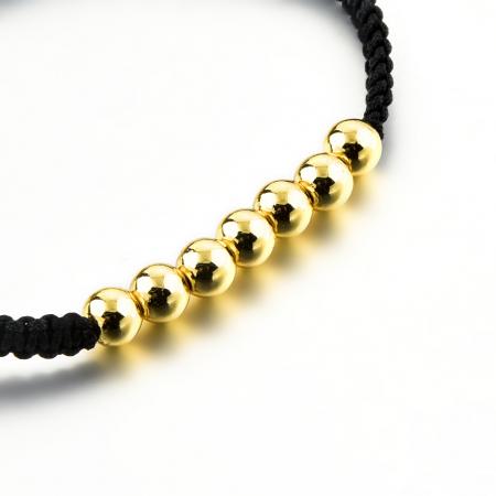 Bratara Tessany Gold din snur si margele din otel inoxidabil placate cu aur DRGB0097 DarGen3
