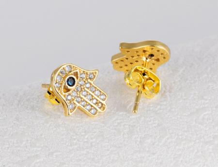 Cercei Attis Gold din otel inoxidabil si diamante CZ DRGC0013 DarGen2