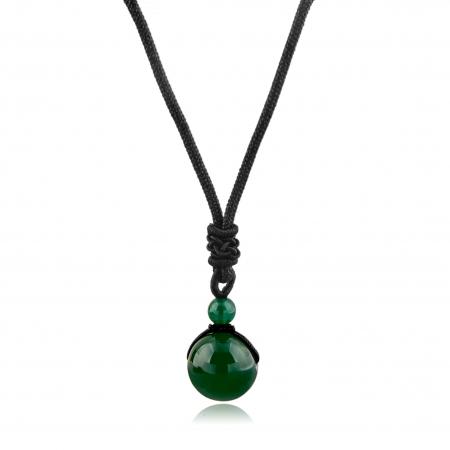 Set Bratara Rolan+Colier Green Agate cu pietre semipretioase  DRGSB030 - DarGEN1