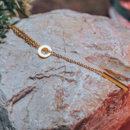 Lantisor cu Pandantiv Davina Gold din otel inoxidabil placat cu aur DRGL0041 DarGen5