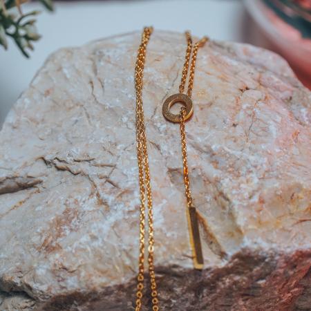 Lantisor cu Pandantiv Davina Gold din otel inoxidabil placat cu aur DRGL0041 DarGen6