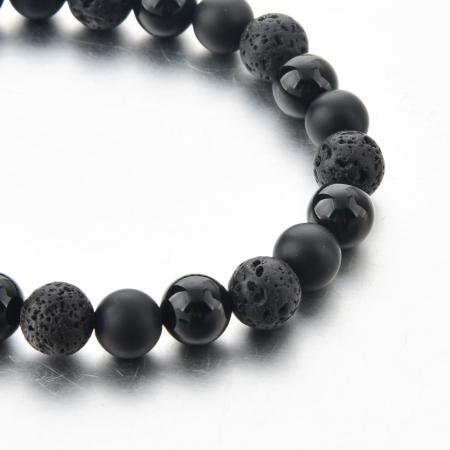 Set Bratari Pennsylvania din otel inoxidabil + Bratara Black Onyx din pietre semipretioase 8 mm DRGSB003 DarGen10