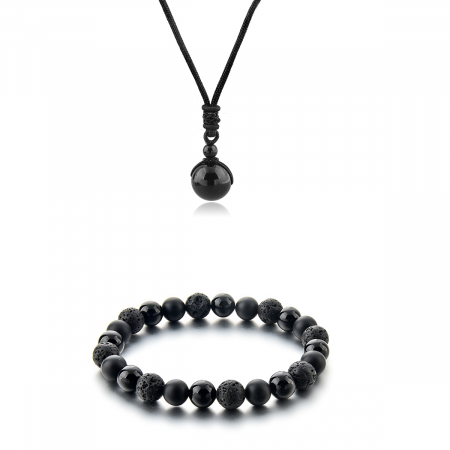 Set Bratara Black Onyx 8 mm+Colier Obsidian cu pietre semipretioase DRGSB034 - DarGEN0