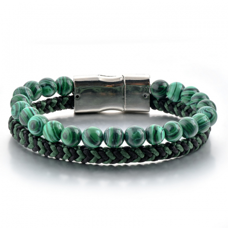 Set Bratara All Green+Colier Green Agate cu pietre semipretioase  DRGSB031 - DarGEN1
