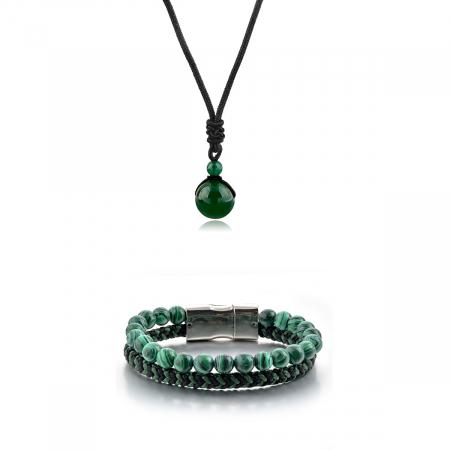 Set Bratara All Green+Colier Green Agate cu pietre semipretioase  DRGSB031 - DarGEN0