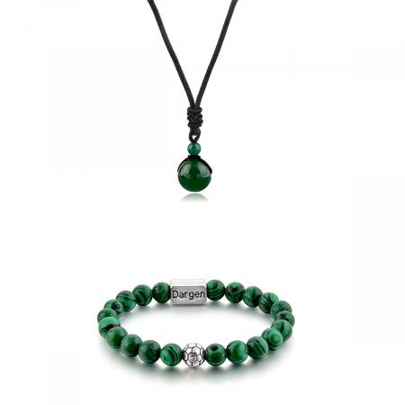 Set Bratara Rolan+Colier Green Agate cu pietre semipretioase  DRGSB030 - DarGEN0