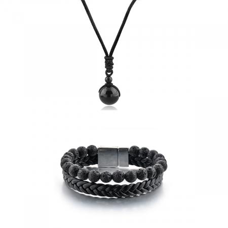 Set Bratara All Black+Colier Obsidian cu pietre semipretioase DRGSB033 - DarGEN0