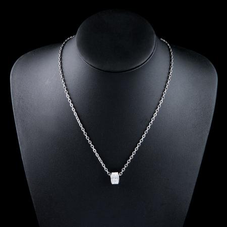 Set Lantisor cu Pandantiv French din otel inoxidabil si Bratara Tennis Alpine Silver din otel inoxidabil si diamante CZ DRGSF022 DarGen [10]
