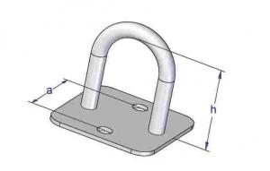 Brida rotunda cu talpa patrata 21x26 mm2