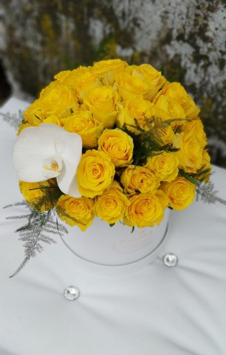 Cutie alba cu 31 trandafiri galbeni 0