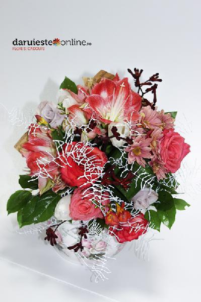 Buchet amaryllis si trandafiri 0