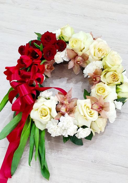Coroana funerara alb rosu - Coroane Iasi 1