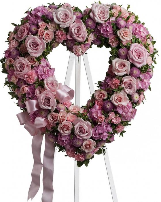 Corana funerara inima roz 0