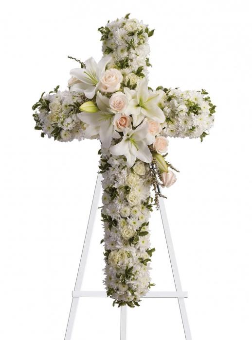 Cruce funerara crini si trandafiri 0