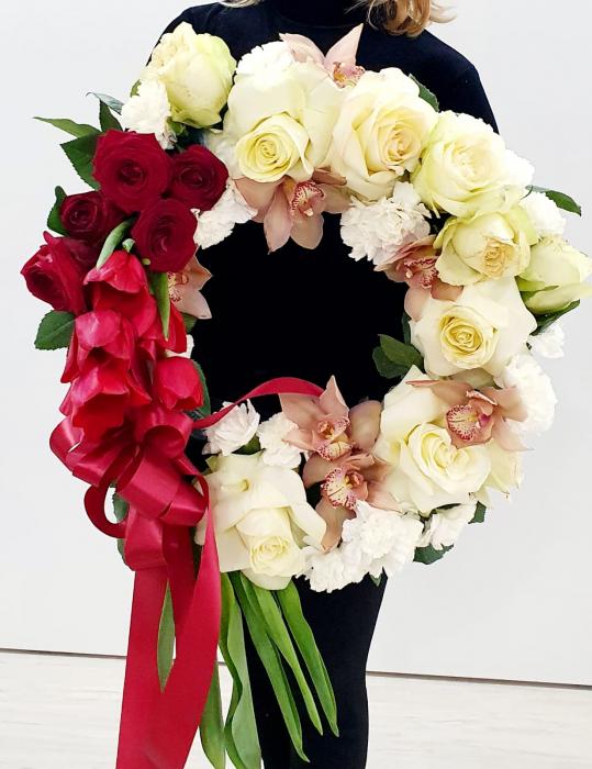 Coroana funerara alb rosu - Coroane Iasi 0