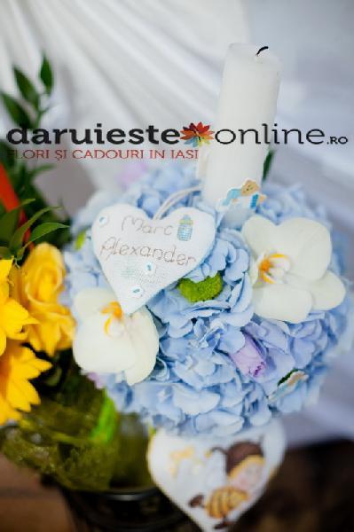 Lumanare botez hortensie si orhidee 0