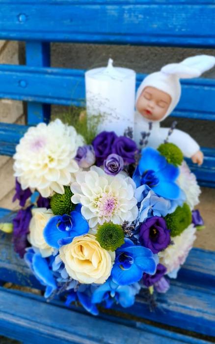 Lumanare botez baietel -flori albaste 0