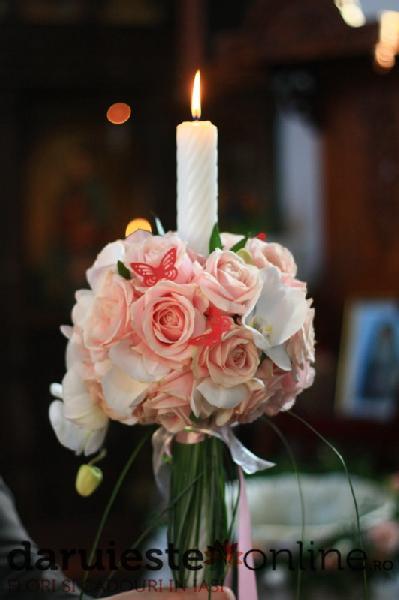 Lumanare botez trandafiri si orhidee 0