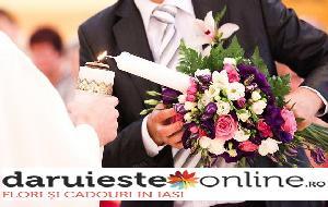 Lumanari nunta eustoma si trandafiri 0
