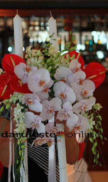 Lumanari cununie anthurium si orhidee 0
