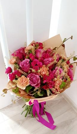 Buchet trandafiri roz0