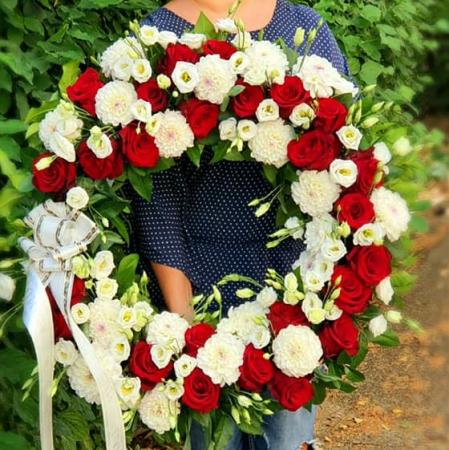 Coroana funerara rotunda alb rosu1