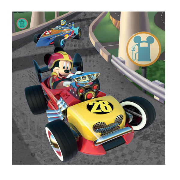 Puzzle 3 in 1 - Cursa lui Mickey Mouse (3 x 55 piese) 1