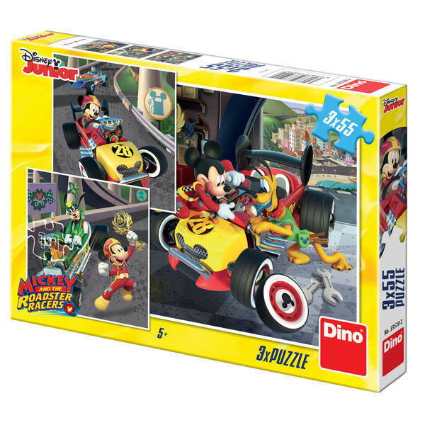Puzzle 3 in 1 - Cursa lui Mickey Mouse (3 x 55 piese) 0