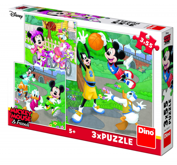 Puzzle 3 in 1 - Mickey si Minnie sportivii (55 piese) 1